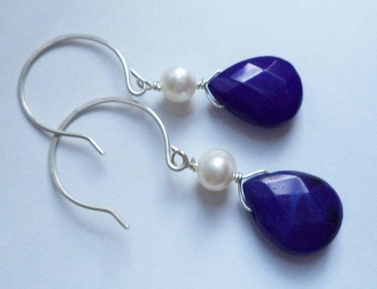 Ohrringe Silber 925 Sterlingsilber Jade und Perlen Hänger Blau f16