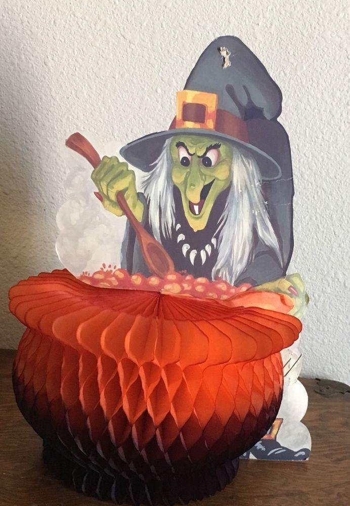 Vintage Halloween Witch Cauldron Honeycomb Decoration Danish Amscan
