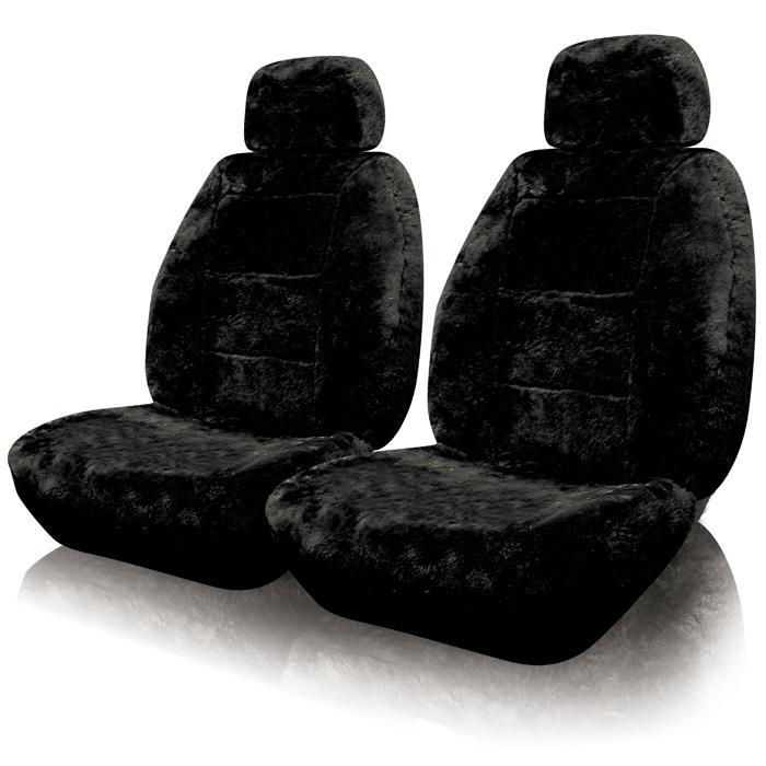Super Soft Sheepskin Charcoal Black Car Seat Covers Front Set 2 PC Sheep Skin