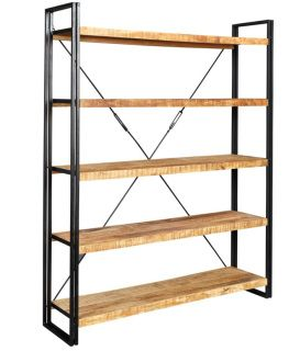 This is a handmade open bookcase made with steel and reclaimed timber, in a contemporary industrial style.