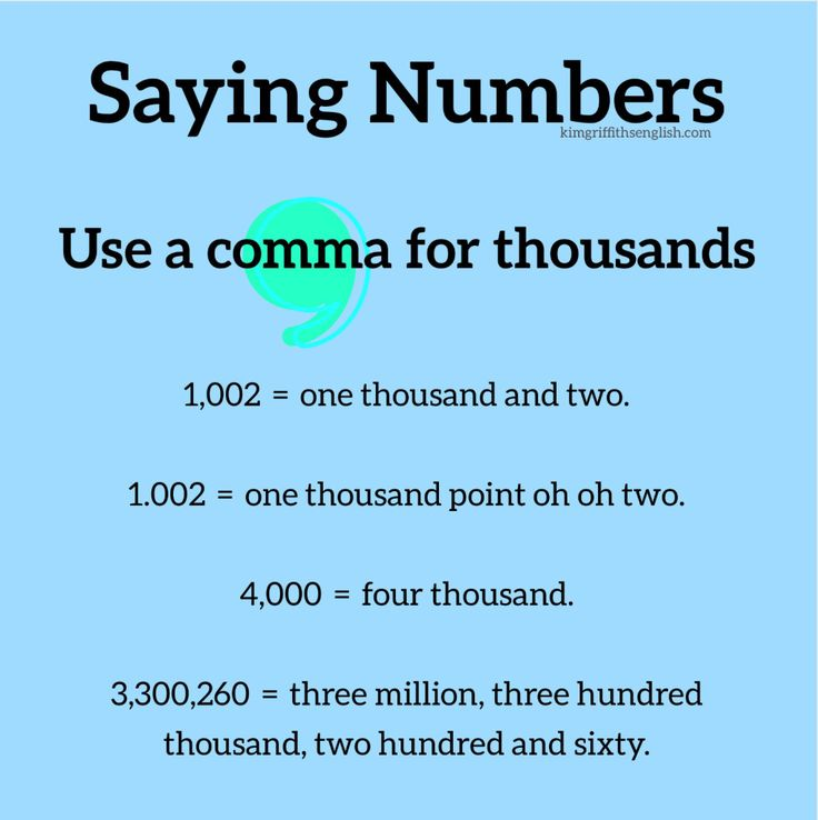 Saying numbers, use a comma for thousands. KimGriffithsEnglish blog for English students.