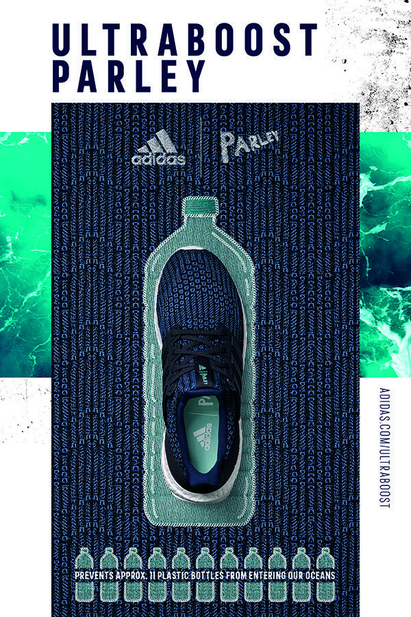 6df2e6944ba16 Each adidas Ultraboost incorporating Parley Ocean Plastic prevents  approximately 11 plastic bottles from entering our ocean. Plastic  intercepted from beach ...