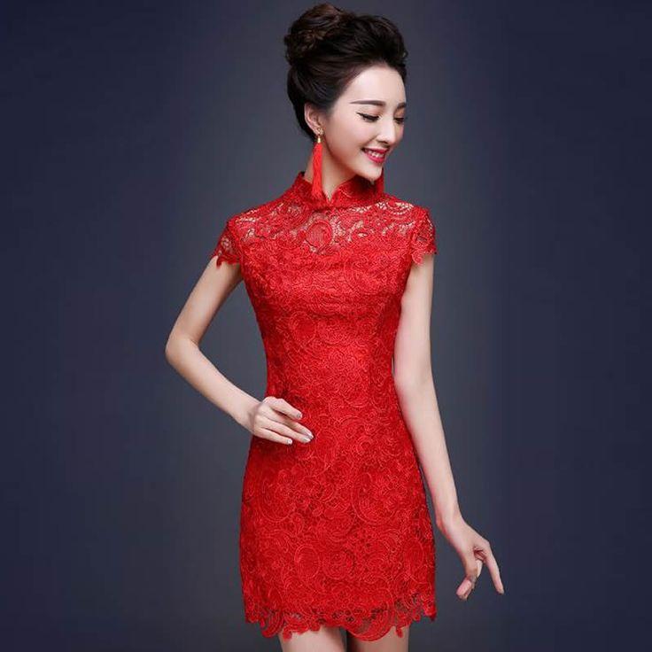 2016 Red Lace Cheongsam Dress Chinese Wedding Qipao Traditional  Vestido Oriental Dresses Modern Chinese Dress Qi Pao