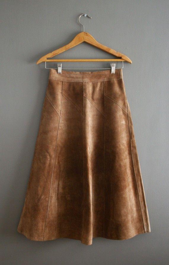 Leerachtige bruine lange rok #rok #skirt #leer