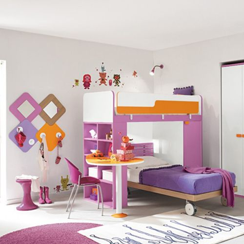 Modern Pink #Bunk #Beds With Built In Book Case U0026 Desk @padding_ton