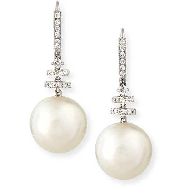 Belpearl Avenue 18K White Gold South Sea Pearl & Diamond Drop Earrings (15.585 BRL) ❤ liked on Polyvore featuring jewelry, earrings, accessories, brinco, pearls, white gold earrings, diamond earrings, 18k earrings, diamond jewelry and 18 karat gold earrings