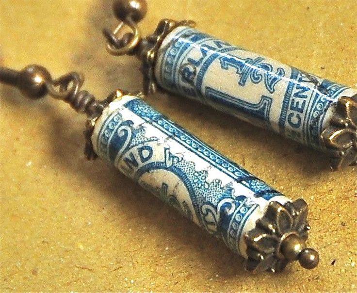 Vintage Postage Stamp Earrings: Nederland / Netherlands (Paper Bead Jewelry). $20.00, via Etsy.