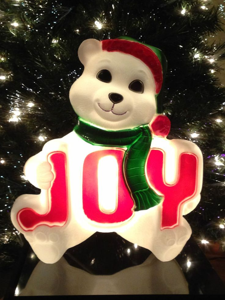 New vintage joy polar bear blow mold lighted christmas for Animated polar bear christmas decoration