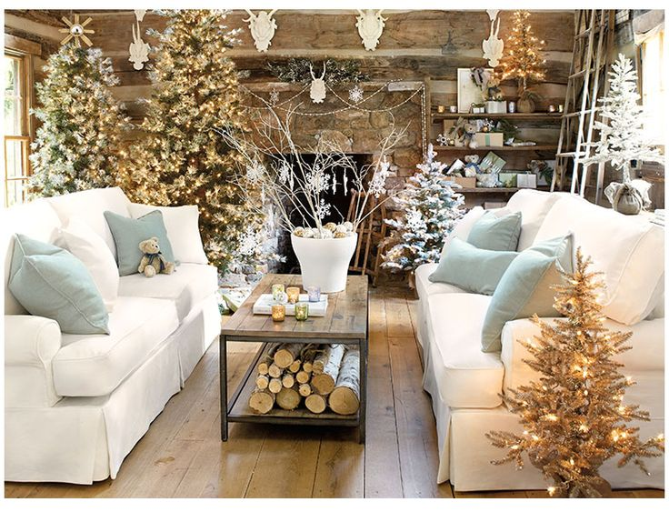 Suzanne Living Room  I  ballarddesigns.com: Christmasdecor, Idea, Living Rooms, White Christmas, Holidays Decor, Rustic Christmas, Christmas Decor, Christmas Trees, Cabins Christmas