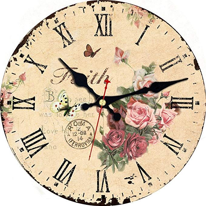 Meistar 12 Inch Home Decor Wall Clock Wooden Classic Retro Flowers And Butterfly Battery Operated Quartz Wall Clocks For Children Bedroom Dining Room Review Wall Clock Wall Clock Wooden Clock