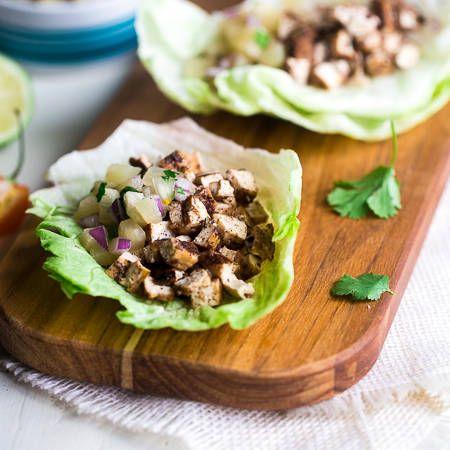 Vegetarian Lettuce Wraps with Jerk Grilled Tofu {Gluten Free} via @FoodFaithFit