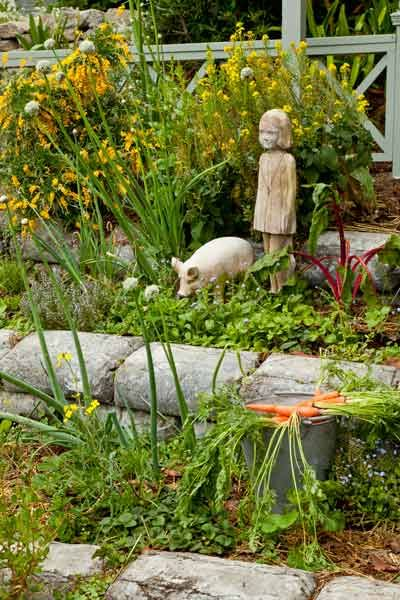 Here's an interesting way to create garden terraces: Set out bags of concrete mix, let them harden, then rip off the paper. Set the bottom row into the soil as a foundation and stagger the joints between bags on higher layers, just as if you were building with stone.   Photo: Mark Lohman   thisoldhouse.com