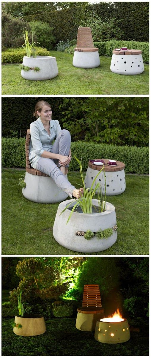 Beautiful Concrete Garden Furniture | Betonnen tuinset met originele vuurkorf annex bank/stoel