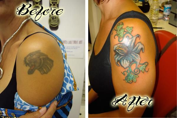 cover ups for black tattoos | black tattoo cover up before and after