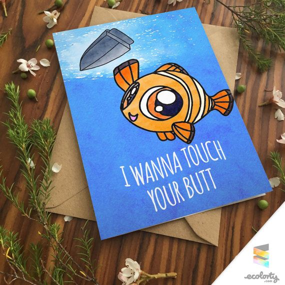 FINDING NEMO CARD Pun Funny Punny Clown Fish Marlin Finding Dory Ocean Pixar Disney Anniversary Birthday Card For Girlfriend For Boyfriend Cute Marlin Finding Dory Hank Destiny Ellen Degeneres Hank Stan Gill Bubbles Bailey Butt Booty Cute Greeting Card