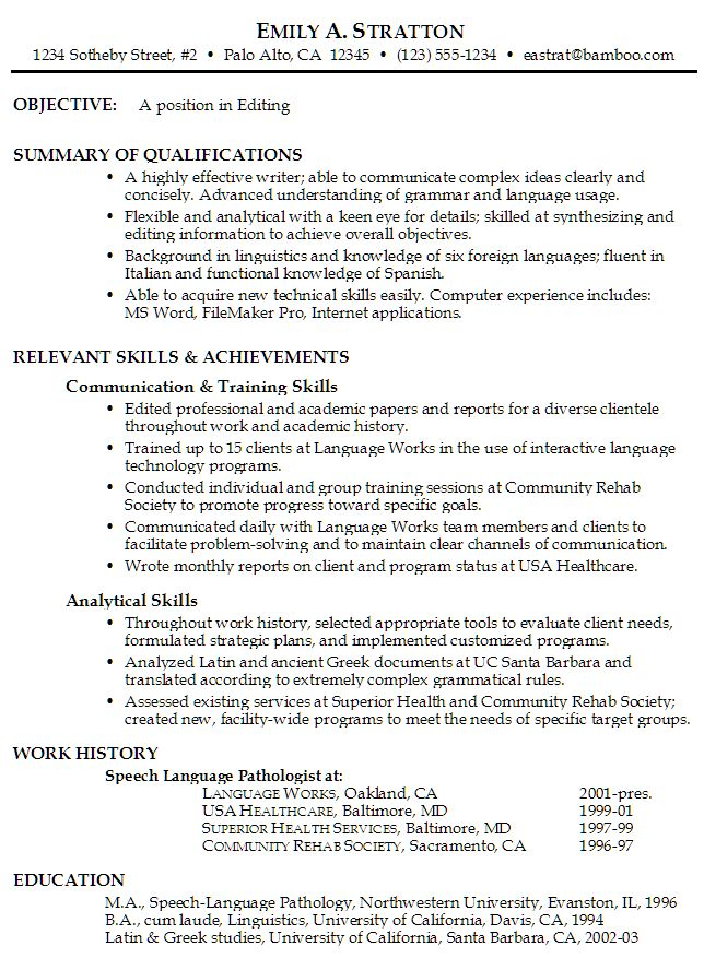 19 best Resumeu0027s amd CVu0027s images on Pinterest Sample resume - speech language pathology resume