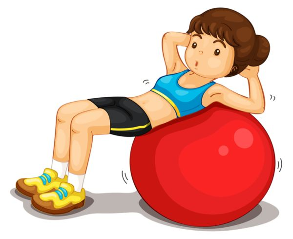 Girl doing sit ups on a fitness ball