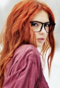 #Girl #Pretty #redhead #model #white #long #hair #curls #black #eyeglasses