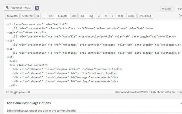 Come usare i componenti Bootstrap in un tema WordPress L'articolo di WpSoluzioni spiega come usare i componenti Bootstrap in un tema Wordpress. Oggi si parla del componente tabs, è molto comodo quando si ha molto testo e  si dispone di poco spazio, le t #bootstrapcss