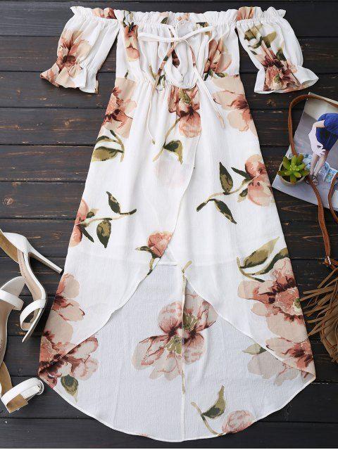 Off Shoulder Ruffle Asymmetric Floral Dress - WHITE M