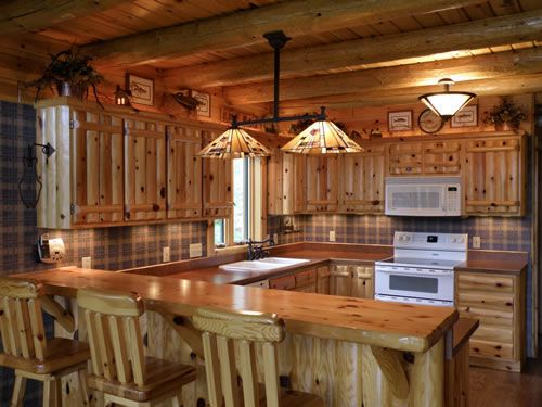 Log Home Kitchens, knotty pine kitchens, kitchen ideas, remodeling kitchens, cabins log, kitchen and