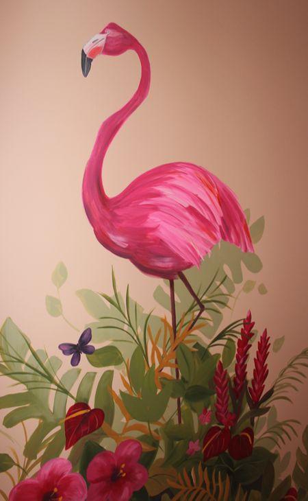 jungle mural flamingo