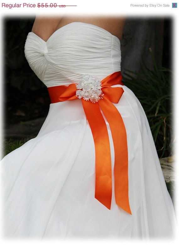Orange bridal sash ribbon sash rhinestone belt by BijouxandCouture, $38.50