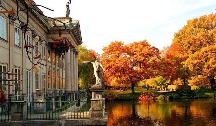 Royal Baths Park in autumn, Warsaw, Poland