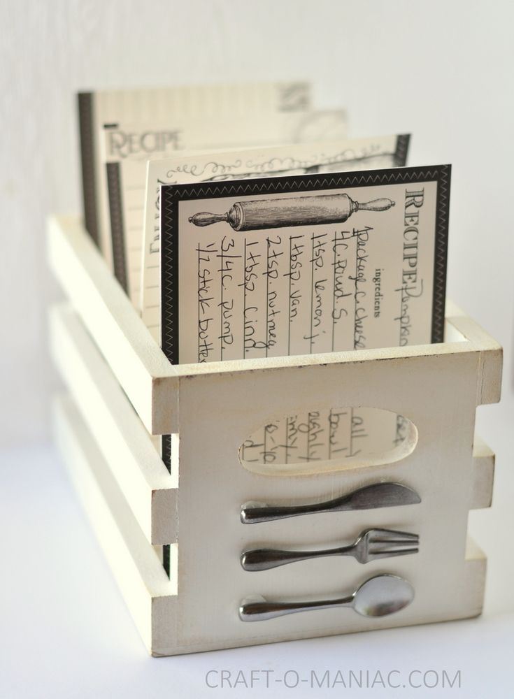 DIY Embellished Recipe Crate Box www.craft-o-maniac.com #diygiftideas