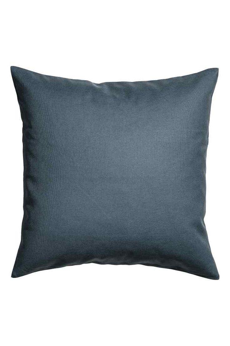 Cotton canvas cushion cover - Dark grey-blue - Home All | H&M GB 1