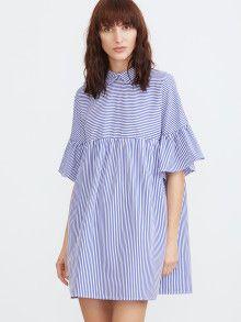 Babydoll Kleid mit Streifen Spitze Kragen Rüschen Ärmel-blau und weiß