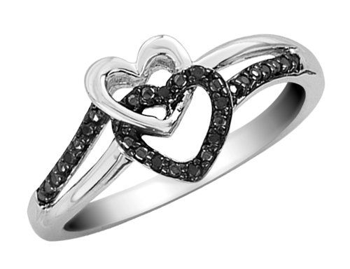 Black Diamond Double Heart Promise Ring in Sterling Silver