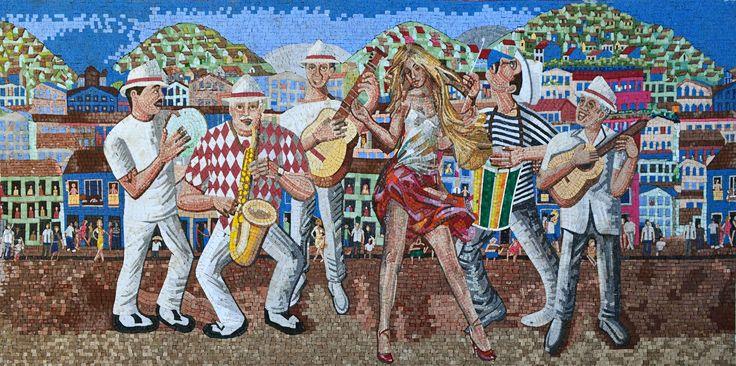 Marble Mosaic Mural- Samba Dancer with Musicians