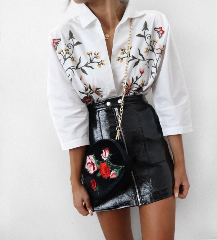 Embroidered Button Up Shirt - - 7 Pieces That Look Adorable With Flower Embroidery // Notjessfashion.com
