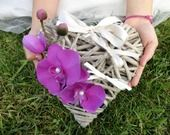 Porte Alliances (ring bearer) Coeur de rotin & Orchidées mauve violet mariage : Accessoires de maison par tendancebijoux