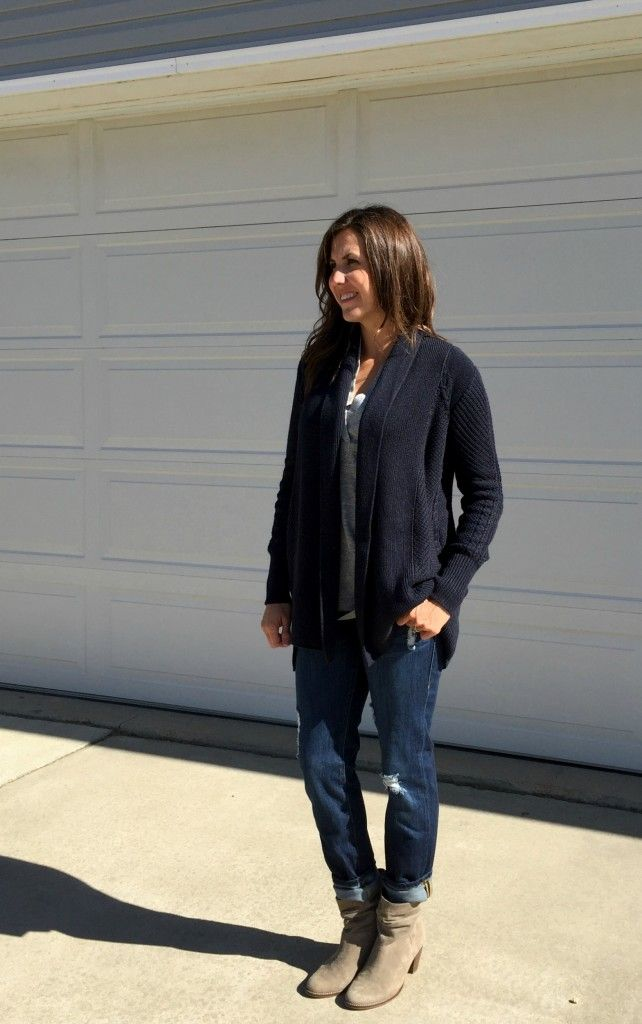 grey ankle boots outfit, cabi clothing outfit, navy cardigan outfit idea,