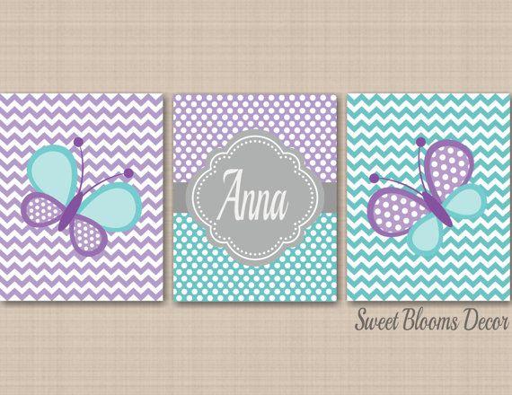 Lavender Aqua Gray Nursery DecorButterflies by SweetBloomsDecor