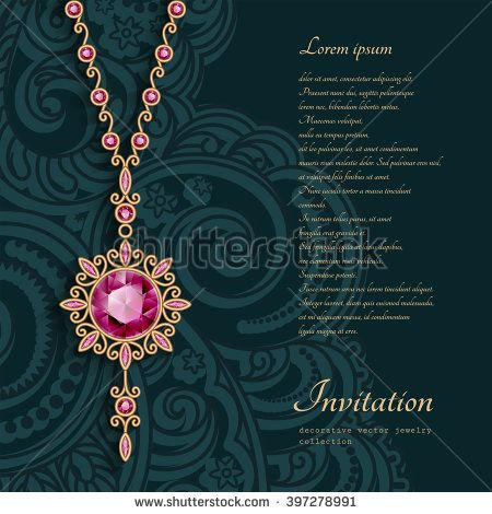 Vintage gold jewelry pendant with red gemstones, round jewellery locket with chain, filigree vector decoration, elegant greeting card or invitation template, eps10