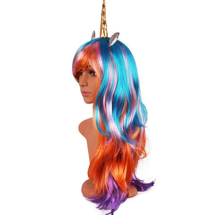 Halloween Party Full Anime Hair Cosplay Unicorn Colorful Wigs at Banggood
