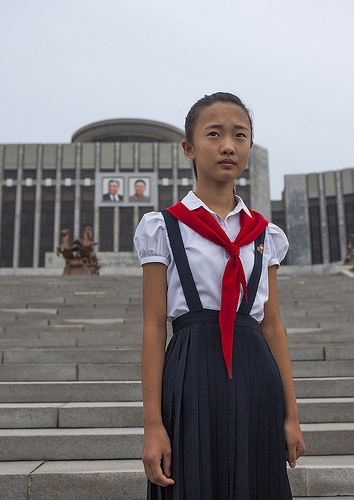 Pioneer Girl In Mangyongdae Schoolchildren's Palace, Pyongyang, North Korea