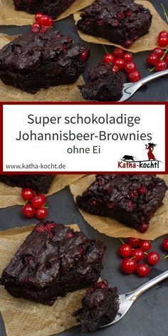 Super schokoladige Johannisbeer-Brownies ohne Ei