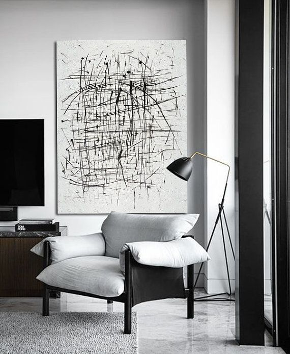 Extra Large Acrylic Painting On Canvas, Minimalist Painting Canvas Art, Black And White Geometrical Painting - Celine Ziang Art