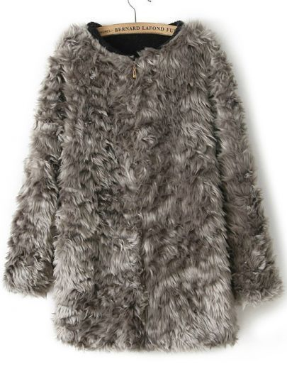 Zipper Faux Fur Coat:
