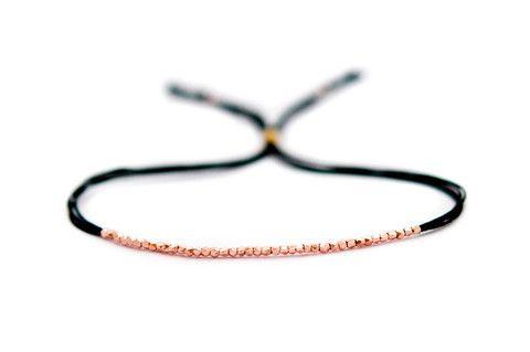 Rose Gold on Black Silk friendship bracelet - Vivien Frank Designs