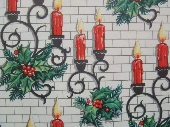 Vintage Wrapping Paper  Christmas Candle by TheGOOSEandTheHOUND, $6.00