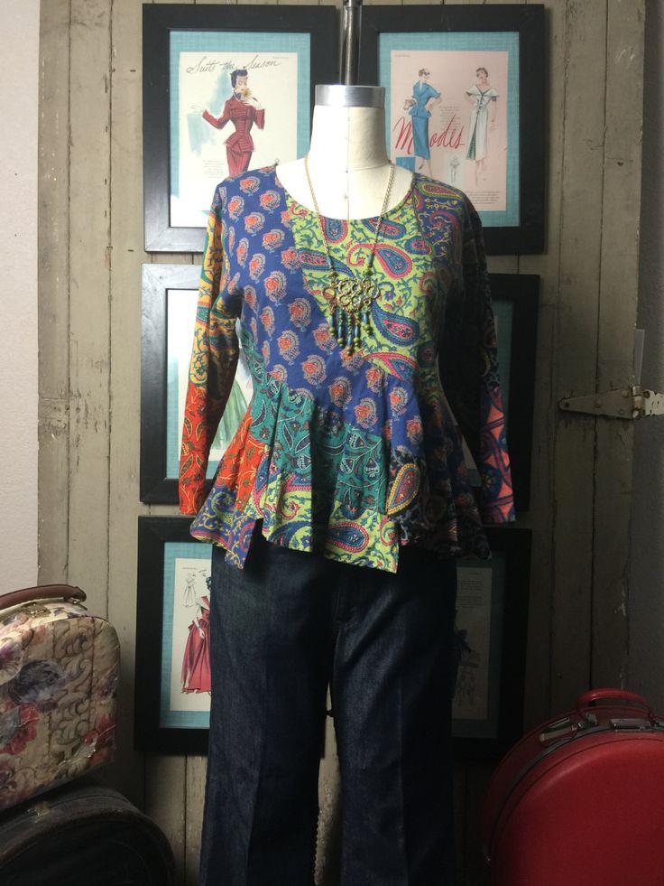 1990s blouse festival blouse patchwork top size medium Vintage blouse 90s shirt asymmetrical blouse by melsvanity on Etsy
