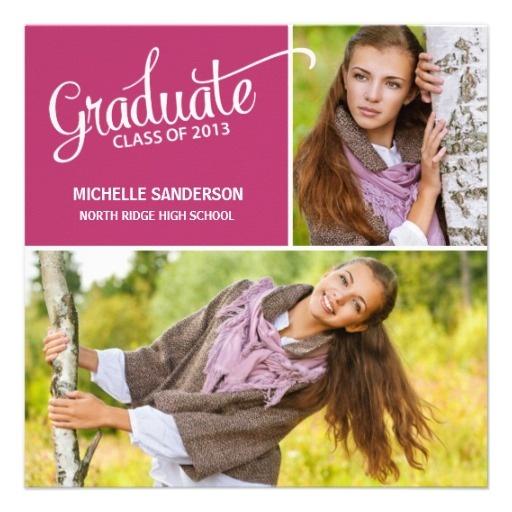 Pretty 2-photo graduation announcement and party invite