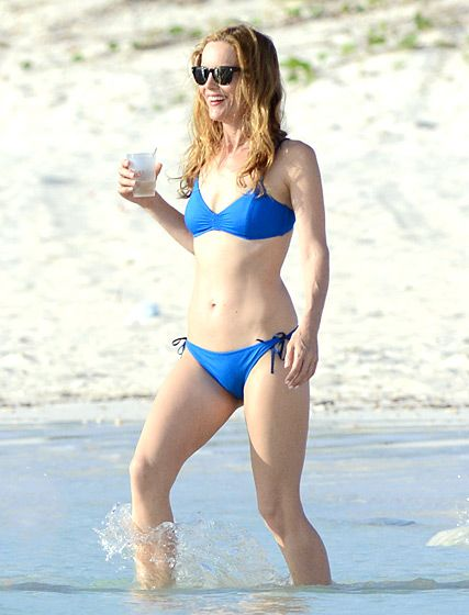 Judd Apatow is a lucky man! Leslie Mann filmed a scene for The Other Woman in the Bahamas wearing an itty bitty blue bikini. Check out more celebs over 40 who can totally rock a two-piece!