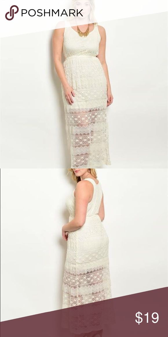Cream Plus Size Dress This sleeveless maxi crochet dress features a blouson bodice, partial lining and a rounded neckline. 90% Polyester  10% Lycra XL (Sizes 14-15) 1x (Sizes 16-18)  2x (Sizes 18-20) 3x (Sizes 22-24) Dresses Maxi