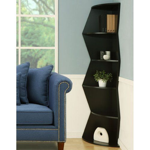 Riley modern design black finish corner unit bookcase for Modern corner bookshelf